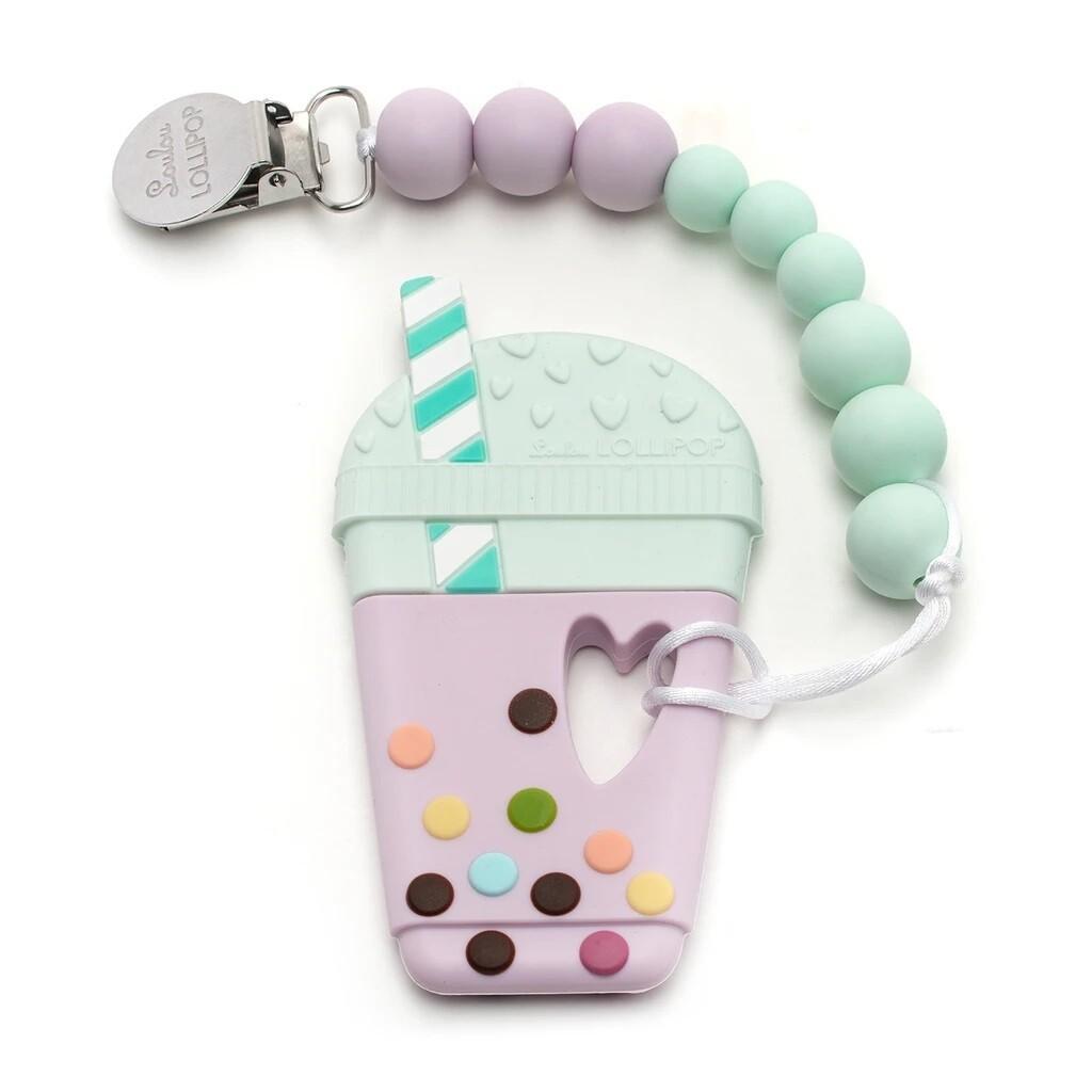 Loulou Lollipop Silicone Teether Set - Taro Bubble Lilac Mint