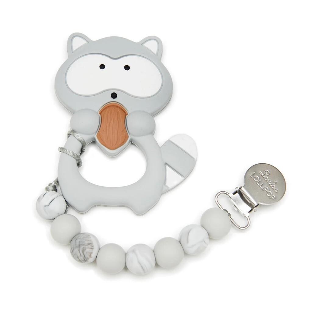 Loulou Lollipop Silicone Teether Set - Gray Raccoon