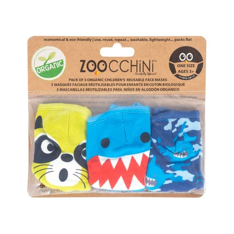 Zoocchini Organic Reusable Masks SHARK 3-PK 3Y+