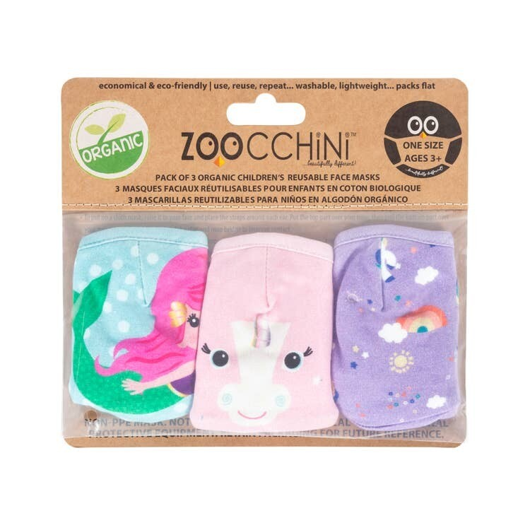 Zoocchini Organic Reusable Masks UNICORN 3-PK 3Y+