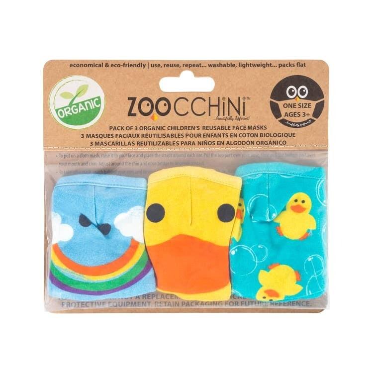 Zoocchini Organic Reusable Masks DUCK 3-PK 3Y+