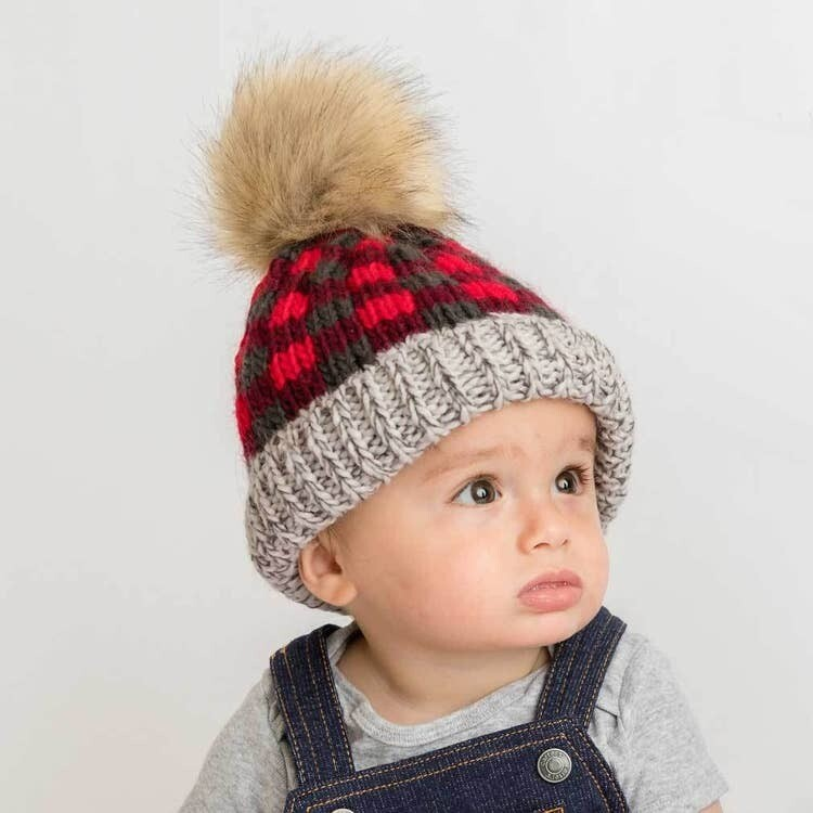 Red Buffalo Check Pom Pom Hat