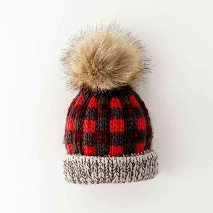 Red Buffalo Check Pom Pom Hat