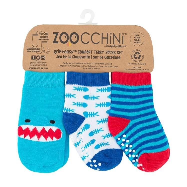 ZooCChini Sherman Shark Baby Sock Set 0-24M