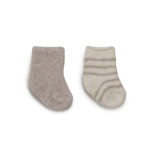 BareFoot Dreams Cozychic 2 Pair Infant Socks Stone 0-6M