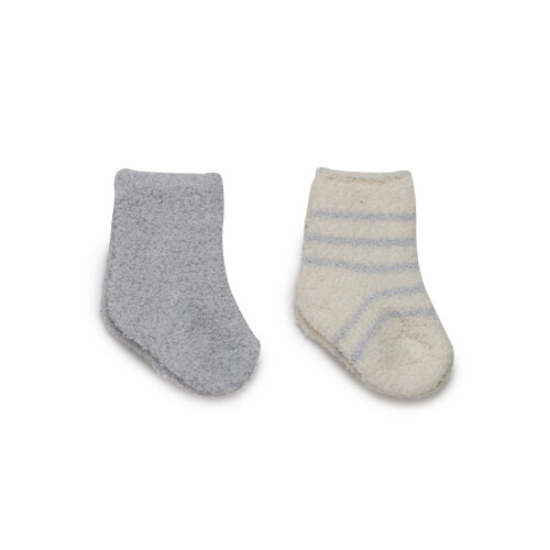 BareFoot Dreams Cozychic 2 Pair Infant Socks Blue 0-6M