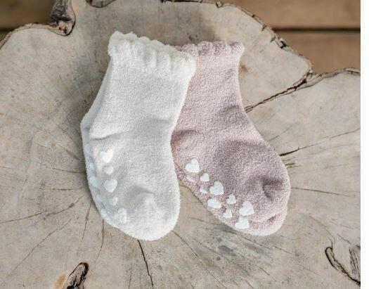 BareFoot Dreams Ruffled Sock Set Fadded Rose