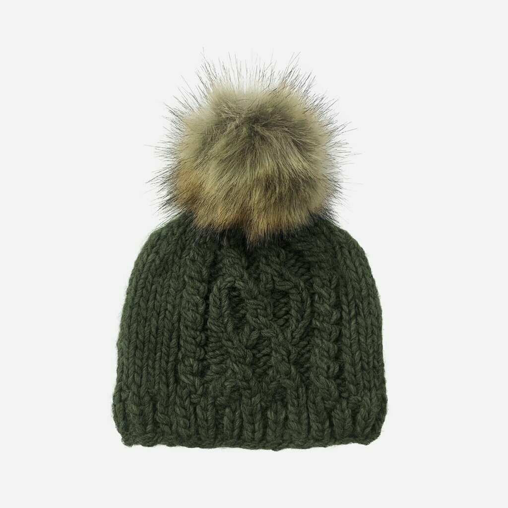 Cable Knit Beanie W/Fur Pom Rifle Green