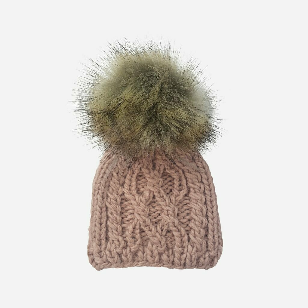 Cable Knit Beanie W/Fur Pom Blush