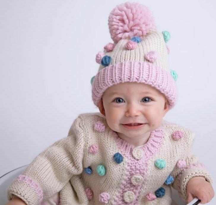 Popcorn Sweater & Hat Pastel 0-6M