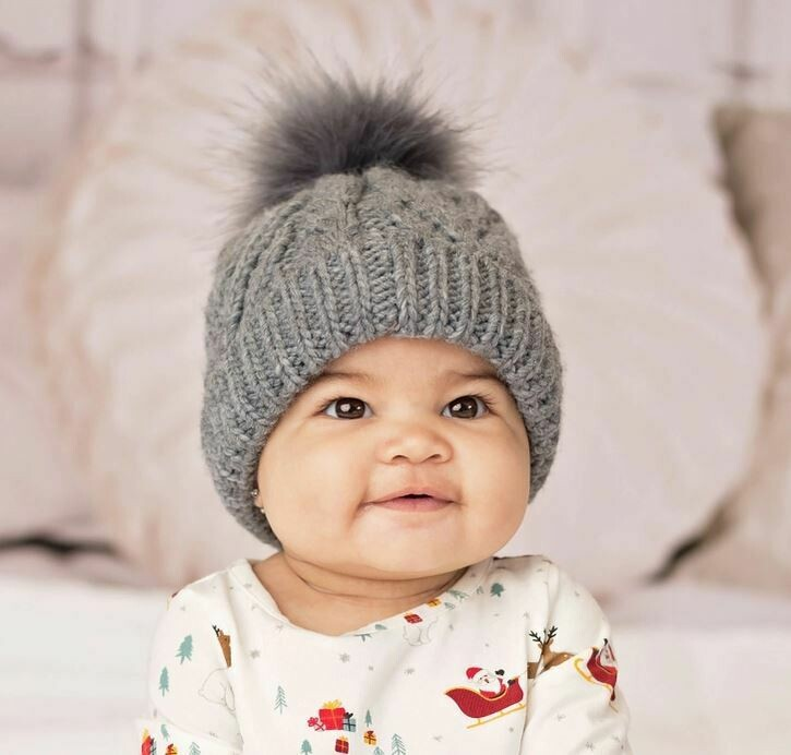 Grey Pom Pom Beanie Hat