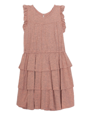 Isobella & Chloe Pink Tiered Ruffle Dress 569CL