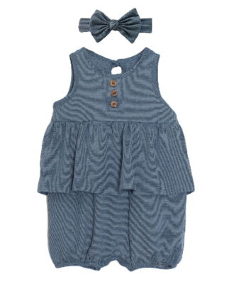 Mabel & Honey 2pc Blue Romper w/Bow K791