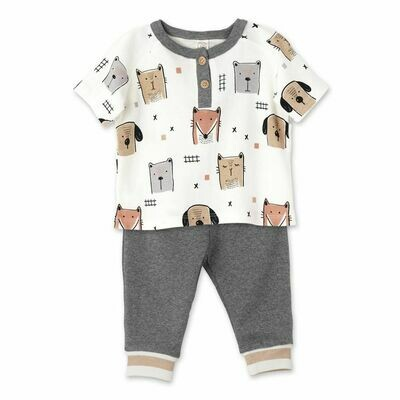 Tesa Babe Animal Party S/S Henley 2-Pc Set