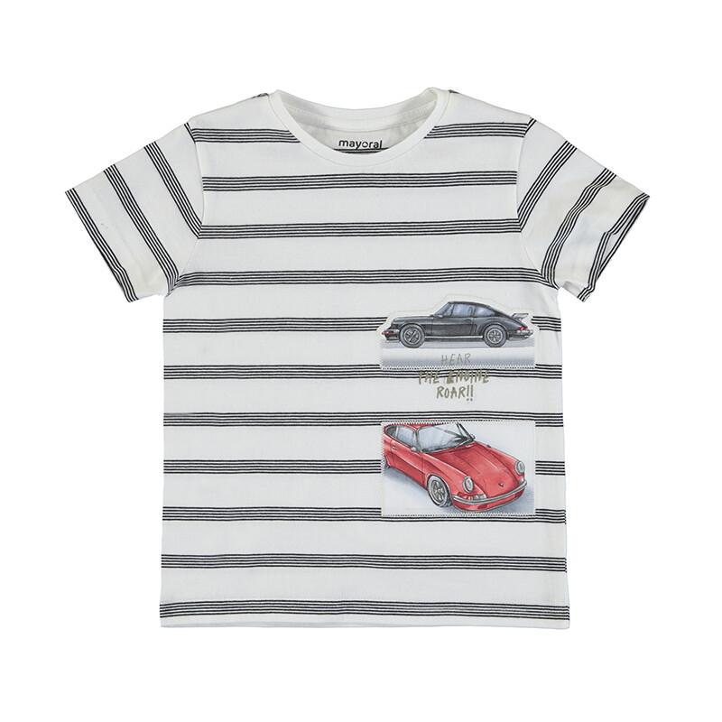 Mayoral Boys Stripe S/S T-Shirt Cars 3029