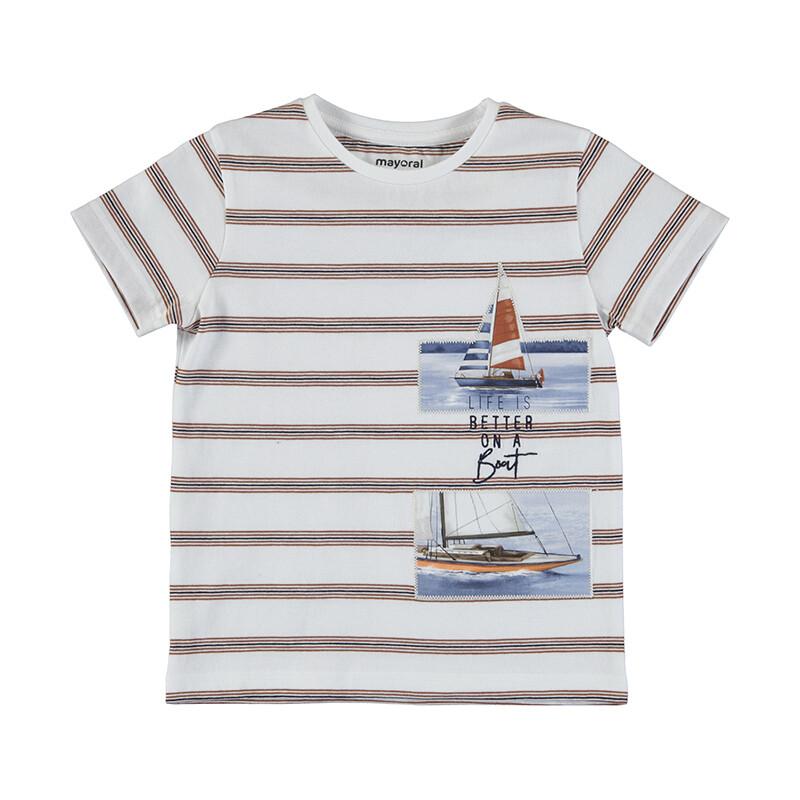 Mayoral Boys Stripe S/S T-Shirt Boats 3029