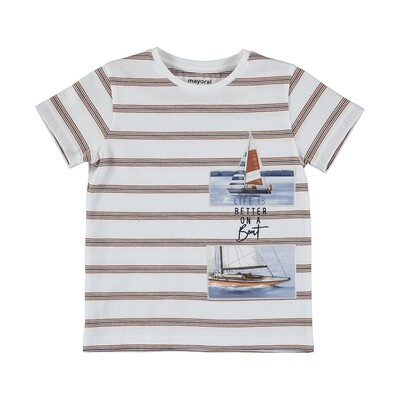 Mayoral Boys Stripe S/S T-Shirt Boats 3029