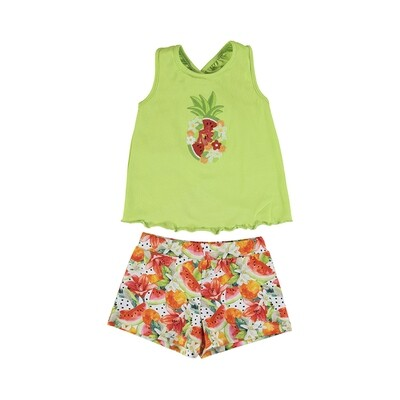 Mayoral Girls Pistachio Embroidery Short Set 3215