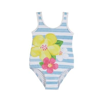 Mayoral Lt Blue Flowers Print Swimsuit 3746