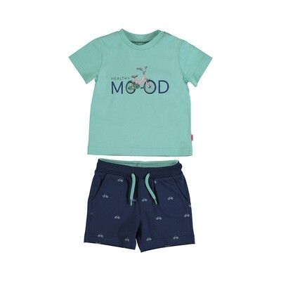 Mayoral Aqua Printed Shorts Set 1673