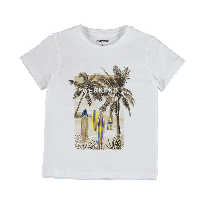 Mayoral White S/S T-Shirt (Weekend Vibes 3032