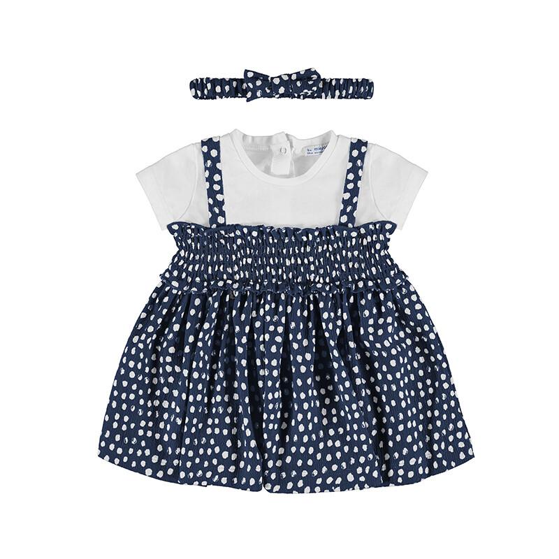 Mayoral  Baby Girls Navy Polka Dot Dress Set 1985