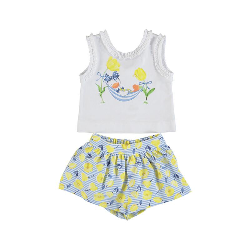 Mayoral Baby Girl Yellow Printed Short Set 1228