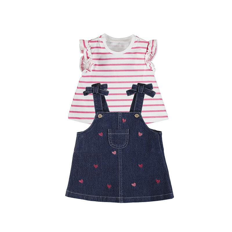 Mayoral Baby Girls Hearts Denim Skirt Set 1840