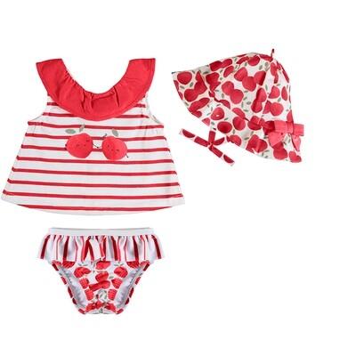 Mayoral Red Bathsuit Set w/Hat  1618