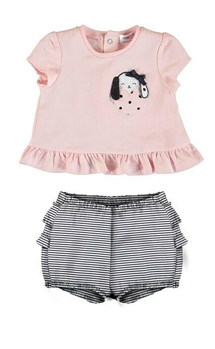 Mayoral Baby Girls 2pc Blush Puppy Short Set-1649