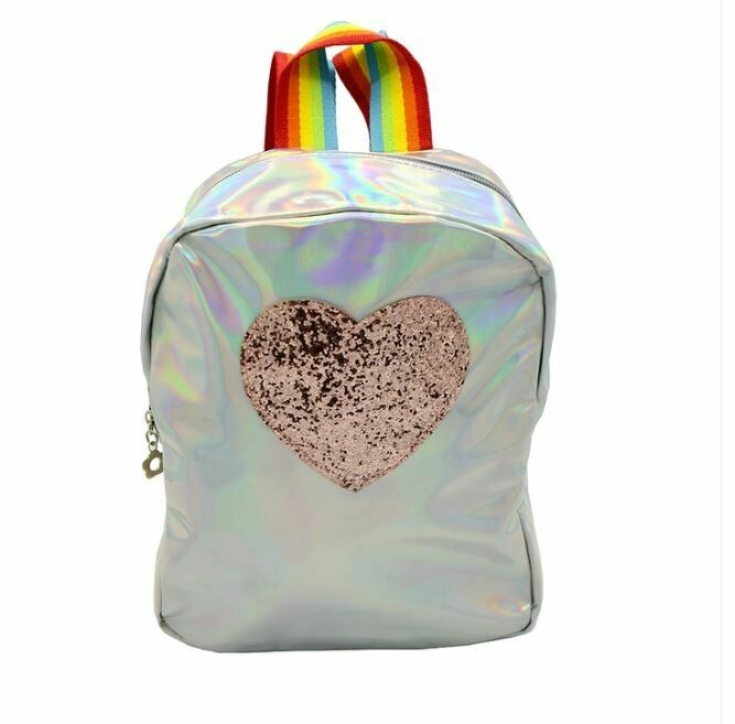 Glitter Heart Backpack-Silver