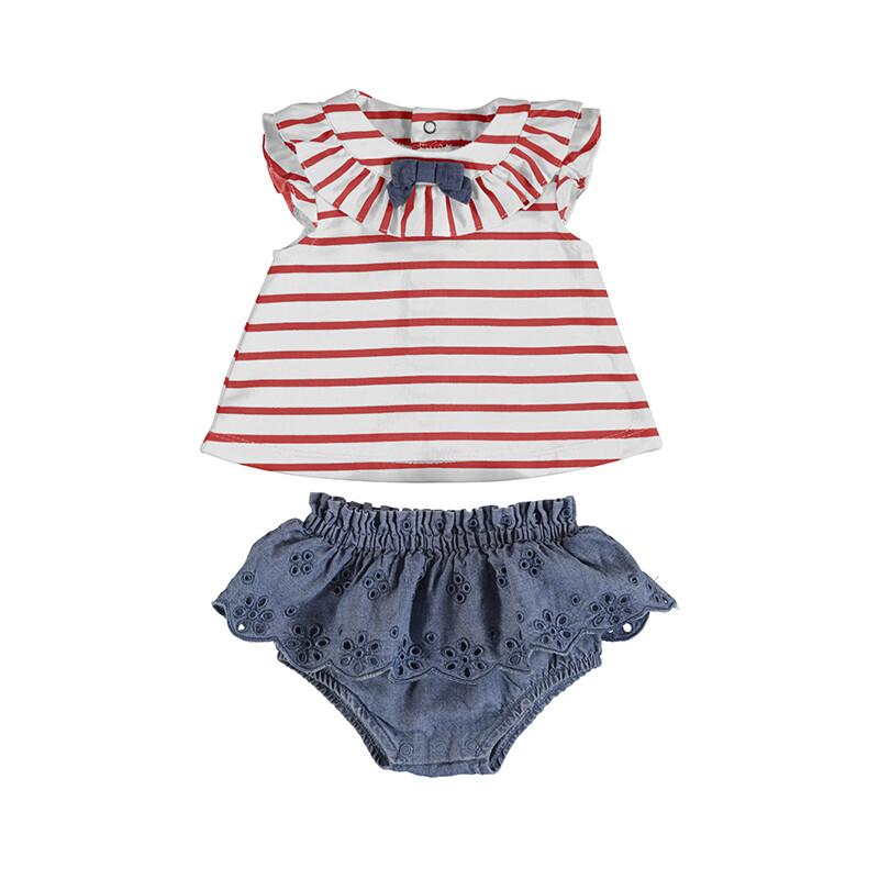 Mayoral Baby Girl Denim Skirt, Red Stripe Top 1815