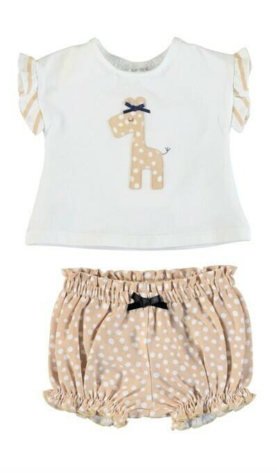 Mayoral Baby Girl Giraffe Mocha Knit Set 1620