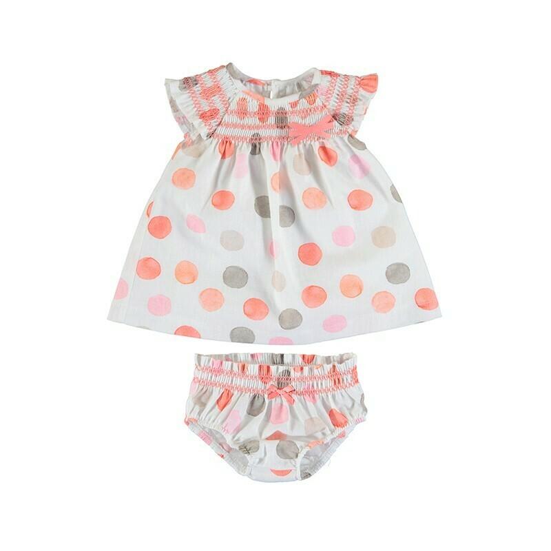 Mayoral Baby Girl Sorbet Polka Dot Dress 1826