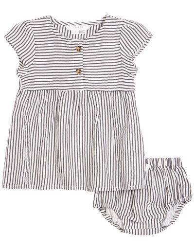 Petit Lem Baby Girl Grey Strp Dress w/Bloomer 600