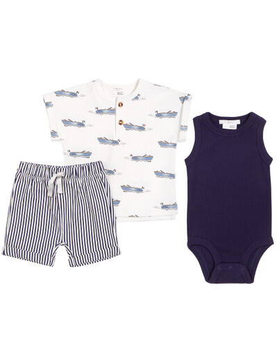 Petit Lem Baby Boy Cannes Grey Boat 3pc Set 511