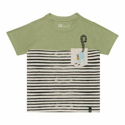 Deux Par Deux Boys Green Jersey Stripe T-Shirt S71