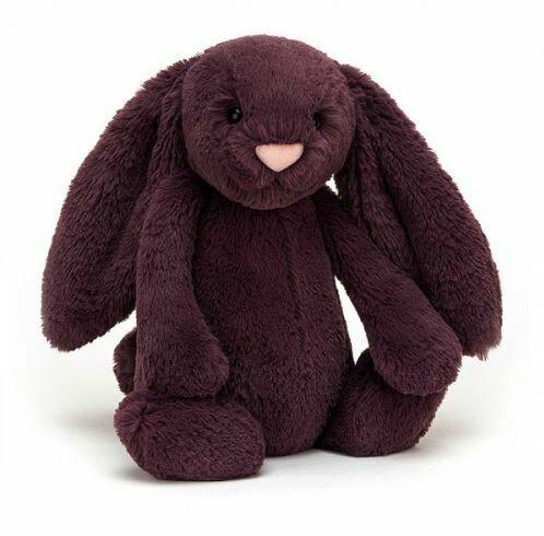 "Jellycat Bashful Plum Bunny Medium 12"""