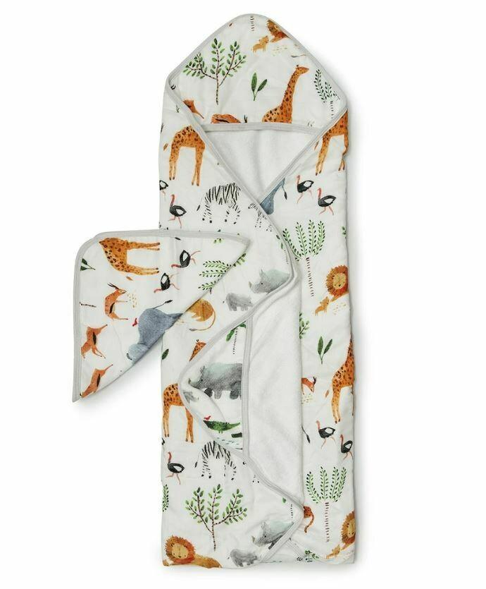 Loulou Lollipop Hooded Towel Set-Safari Jungle 047