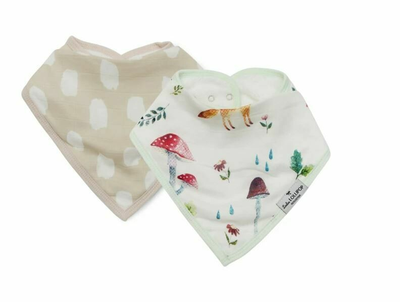 Loulou Lollipop Bandana Bib Set-Woodland Gnome 903