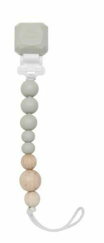 Loulou Lollipop Colour Pop Silicone & Wood Pacifier Clip-CoolGray 831