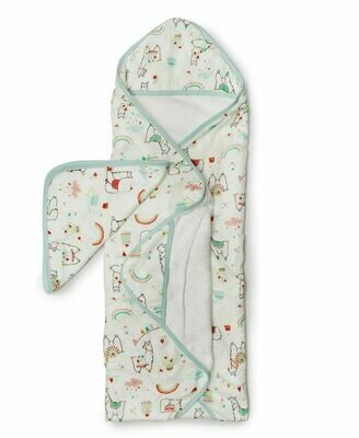 Loulou Lollipop Hooded Towel Set-Llama 030