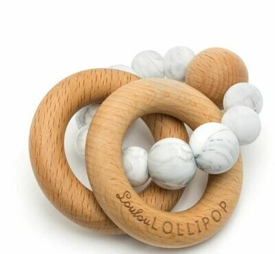 Loulou Lollipop Bubble Silicone & Wood Teether-Marble 227