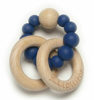 Loulou Lollipop Bubble Silicone & Wood Teether-True Blue 414