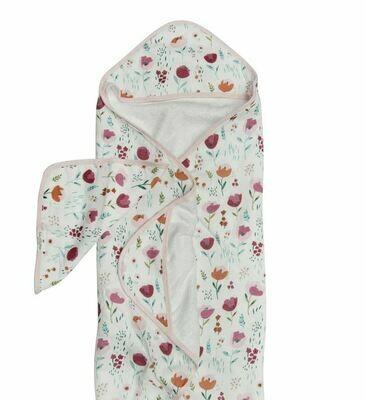 Loulou Lollipop Hooded Towel Set Rosey Bloom
