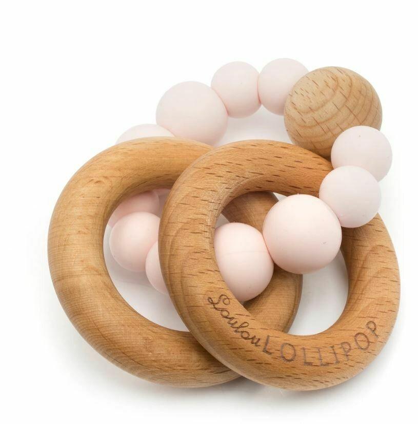 Loulou Lollipop Bubble Silicone & Wood Teether-Pink Quartz 234