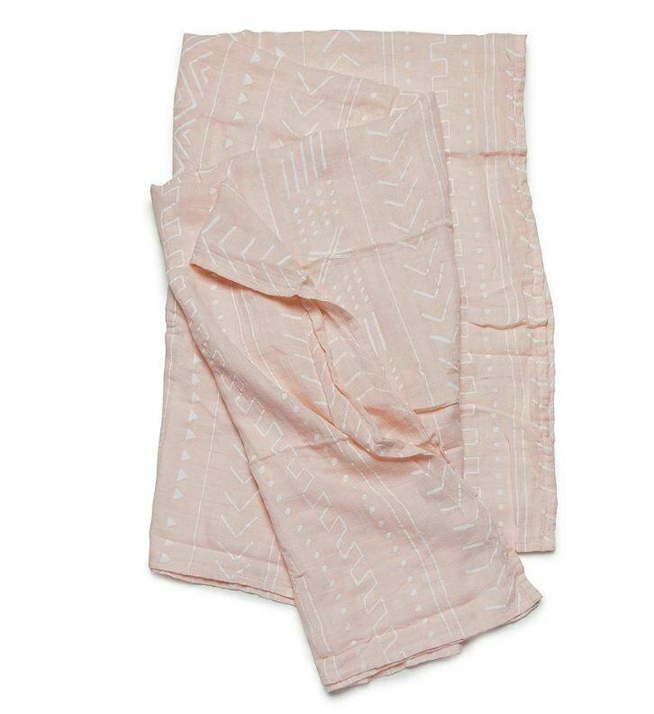 Loulou Lollipop Swaddle  Pink Mudcloth