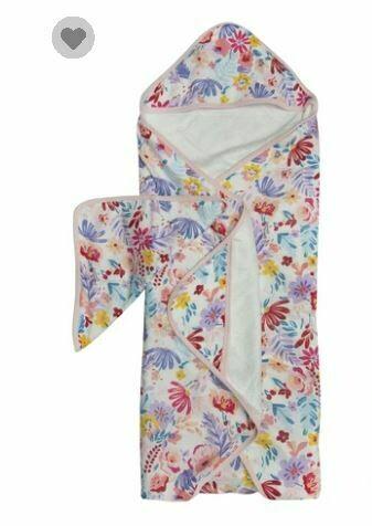Loulou Lollipop Hooded Towel Set Light Field Flowers