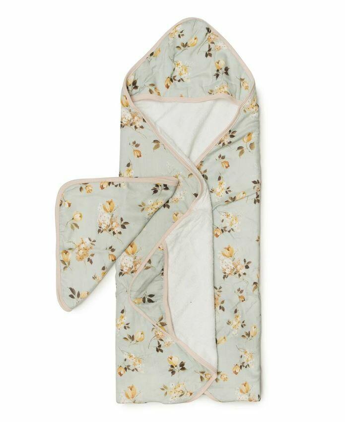 Loulou Lollipop Hooded Towel Set Wild Rose