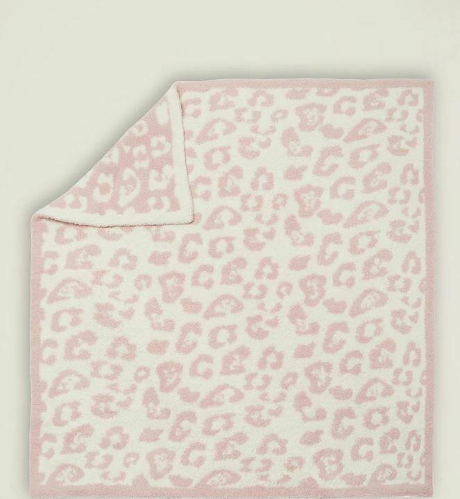 Barefoot Dreams CozyChic In The Wild Blanket Blanket Dusty Rose/Cream